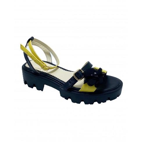 Sandale MIKY negru galben