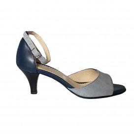 Sandale TINA albastru inchis si gri