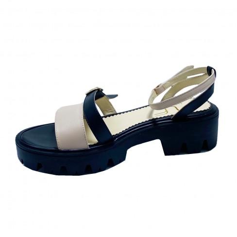 Sandale NINA negru bej