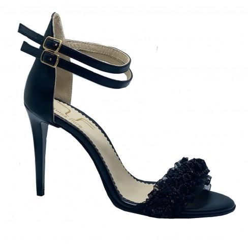 Sandale CRIN negru cu dantela
