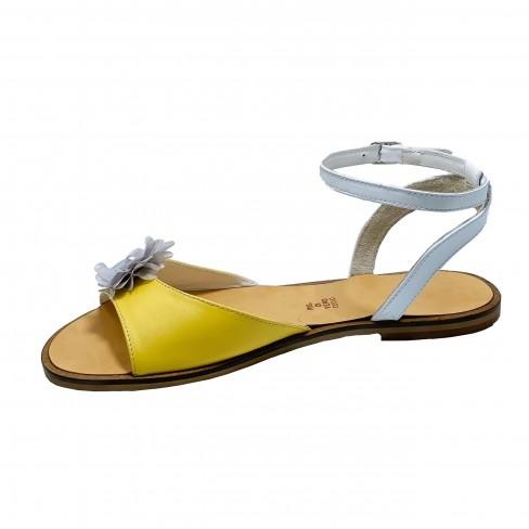 Sandale CARINA alb/galben