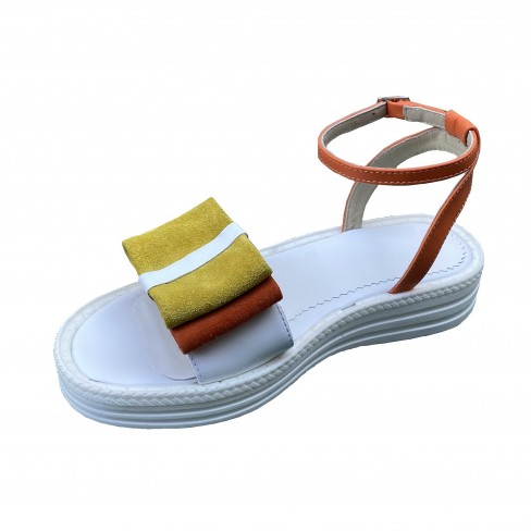 Sandale FENA alb galben