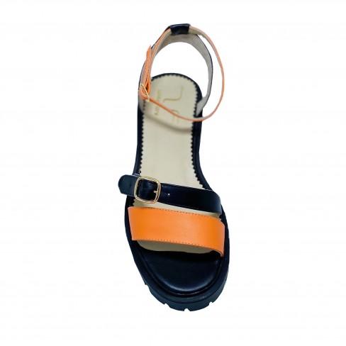 Sandale NINA negru portocaliu