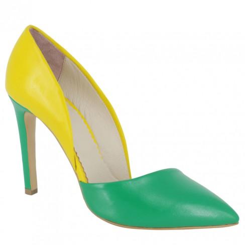 Pantofi TULIPANO verde/galben