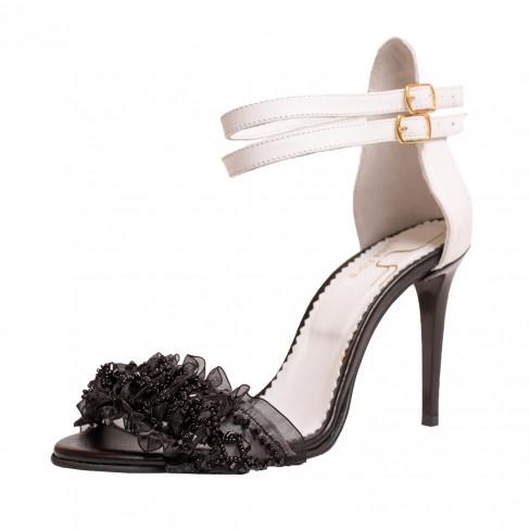 Sandale CRIN alb cu dantela