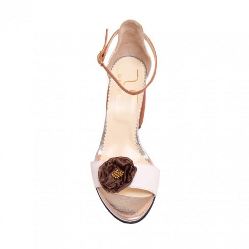 Sandale LEMONE alb/coniac