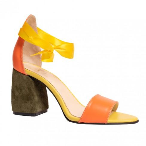 Sandale ORANGE  portocaliu verde